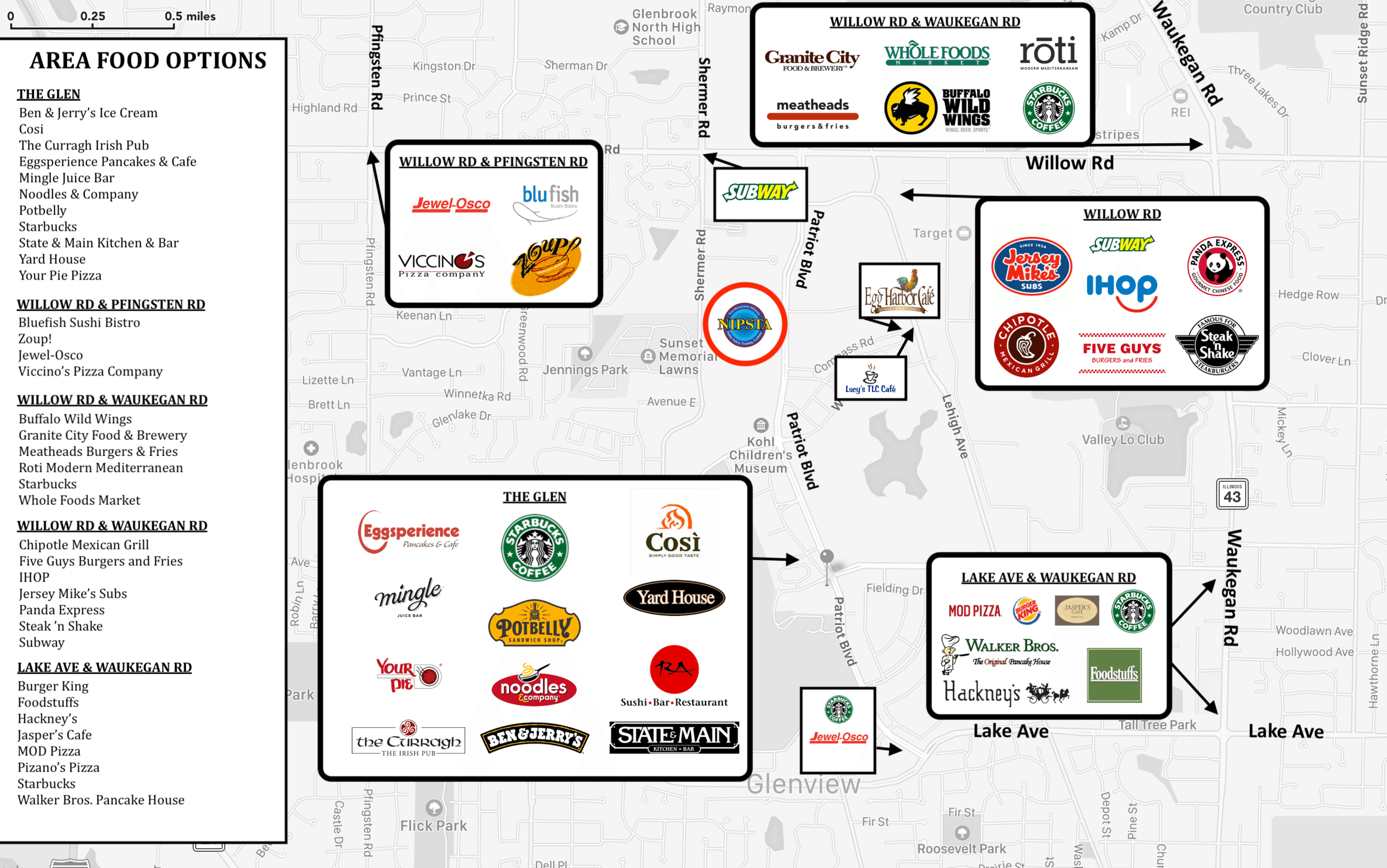 AREA FOOD OPTIONS MAP