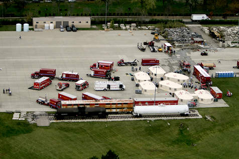 Ariel view of emergency vehicles