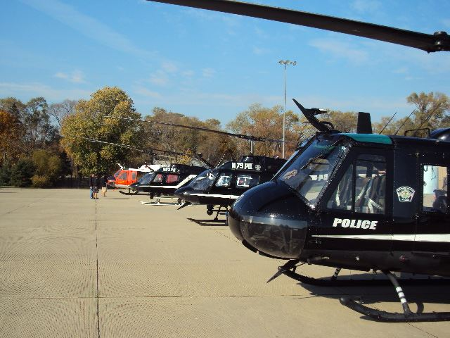 Row of helicopters