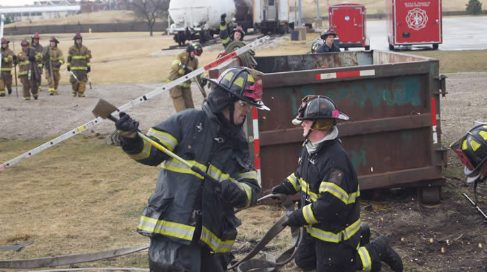 Firefighters completing training