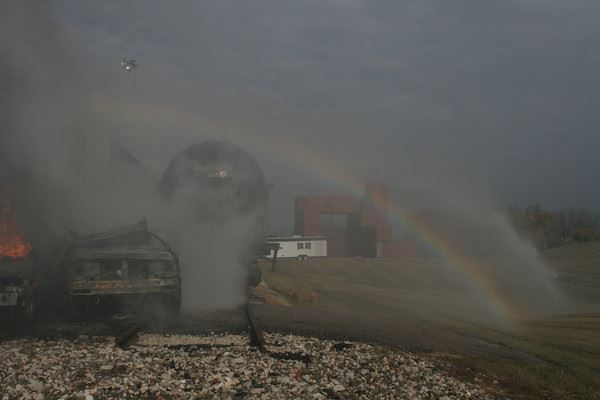 Rainbow in fire hose spray